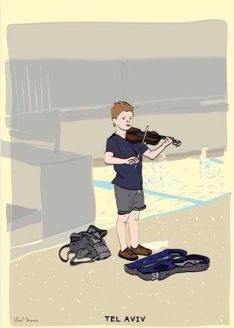 A Kid Playing Violin, Gan Yaakov Passage, Tel AVIV