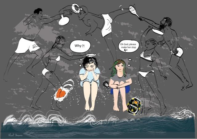 Yom Kippur at Tel Aviv beach illustration blog post