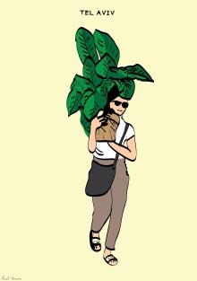 Tel Aviv -Ben Zion Boulevard. Woman holding a giant potted plant.