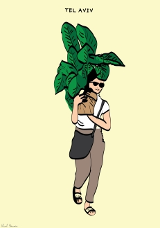 Tel Aviv - Ben Zion Boulevard. Woman holding a giant potted plant.