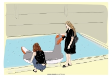 TEL AVIV HABIMA SQUARE - Two Girls And a Swan