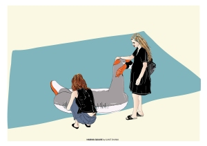 TEL AVIV HABIMA two girls and a plastic swan