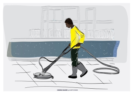 A cleaning worker, Habima Square