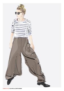 אשה במכנסיים מתרחבים סופי צבע תצוגה