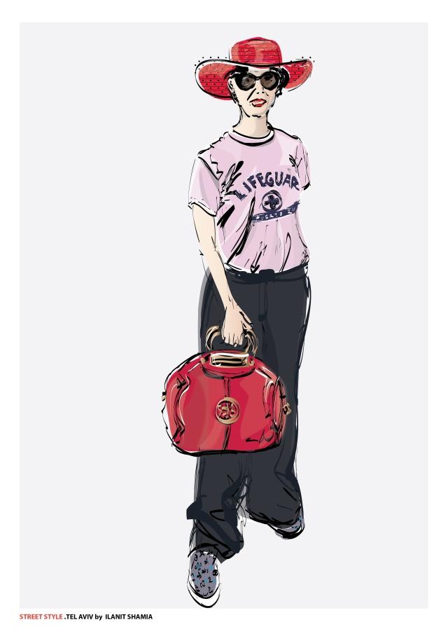 אשה בכובע אדום וטי שירט ורודה צבע תצוגה (1)