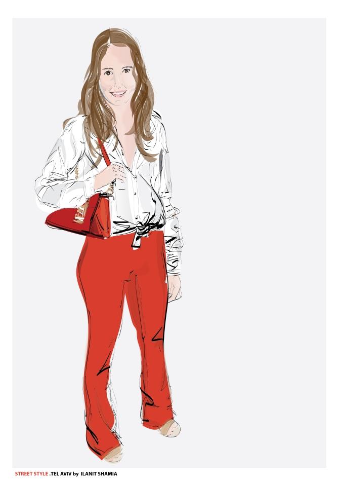 נערה עם תיק אדום מוזיאון חולון1 צבע תצוגה