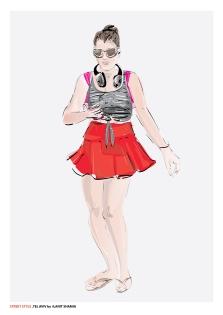 בחורה בחצאית מיני אדומה צבע תצוגה.jpg